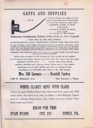 Randall Burkey ad (one of his first) Feb. 1948 Feathered Warrior