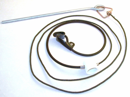 Rubber cord SLIP hitch on nylon cord with metal swivel & stakes (DOZEN)