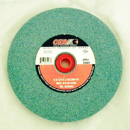 "Silicon carbide wheel  100 grit   6"" x 1/2"""