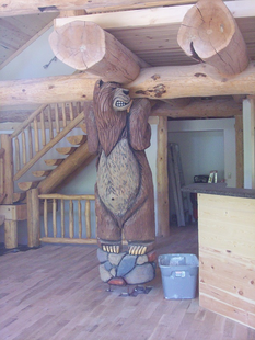 "10 FT  ""GRUNTING"" GRIZZLY BEAR   LOG-LOFT SUPPORT"
