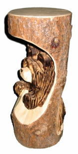 """18"""" BEAR IN LOG CHAINSAW CARVING"""