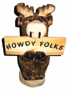 "18"" MOOSE HOLDING SIGN CHAINSAW CARVING"
