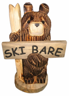 "18"" SKIING BEAR WITH SIGN CHAINSAW CARVING"