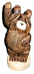 "18"" WAVING BEAR (STANDING) CHAINSAW CARVING"