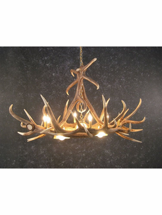 6 ANTLER ELK CHANDELIER W/3 DOWN LIGHTS