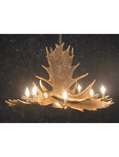 6 ANTLER MOOSE CHANDELIER