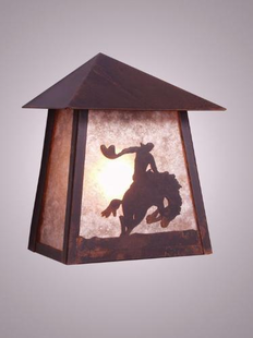 8 SECONDS RUSTIC STEEL TRI ROOF SCONCE