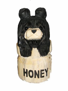 "9"" BEAR IN HONEY CHAINSAW CARVING"