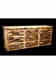 ASPEN  9 DRAWER DRESSER HALF LOG