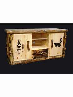 ASPEN CREEK TV CONSOLE W/CARVINGS