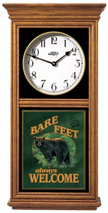 BARE FEET WELCOME REGULATOR CLOCK OAK OR BLACK