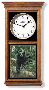 BEAR CLOCK  OAK  OR BLACK