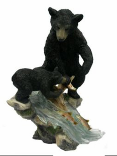 BLACK BEAR AND CUB FISHING