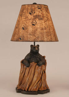 BLACK BEAR IN STUMP LAMP