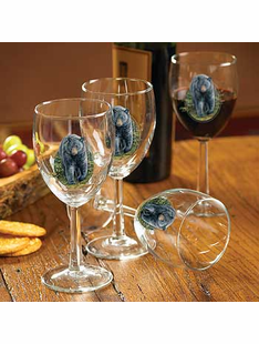 Black Bear Wine Glasses Set/4