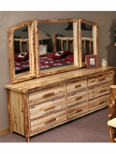 BLUE RIDGE WINGED ASPEN MIRROR FOR 9 DRAWER DRESSER