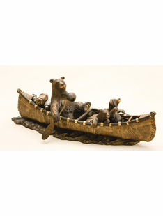 """CANOE TRIP"" WHIMSICAL BEARS BRONZED SCULPTURE"