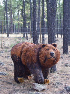 CARVED LIFESIZE GRIZZLY ON 4S