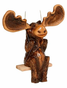 CHAINSAW CARVED MORRIS MOOSE ON SWING
