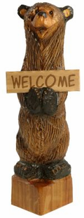 CHAINSAW CARVED OLY BEAR W/SIGN