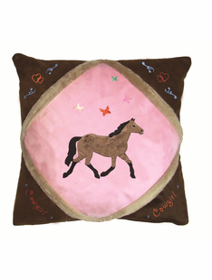 CHILDRENS COWGIRL BUTTERFLY THROW PILLOW