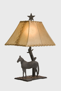 "COPPER TRAILS HORSE TABLE LAMP 22""H X 16"" X 12""W"