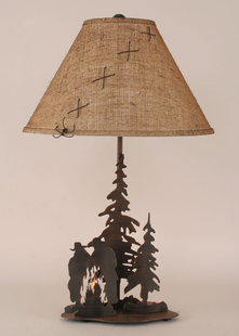 COWBOY CAMPFIRE METAL TABLE LAMP
