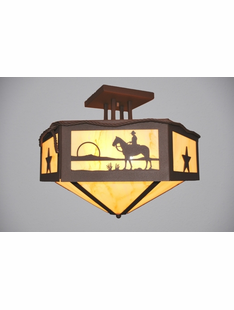 "COWBOY SUNSET HEXAGON CEILING DROP MOUNT . 16""H X 21""D"