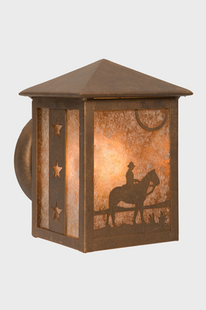 COWBOY SUNSET PEAKED RUSTIC STEEL WALL SCONCE