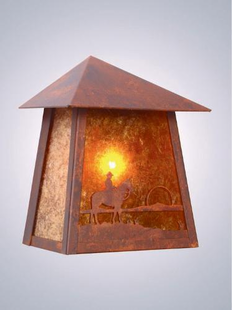 COWBOY SUNSET RUSTIC STEEL TRI ROOF SCONCE