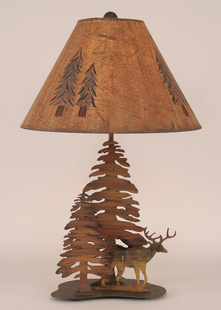 DEER WITH TREES METAL LAMP