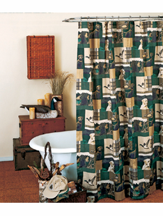 DOGS AND DUCKS SHOWER CURTAIN