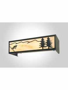 DOWN HILL SKIER RUSTIC STEEL LIGHT VANITY