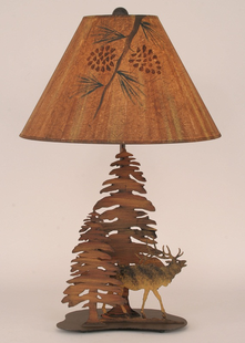 ELK AND TREES METAL LAMP