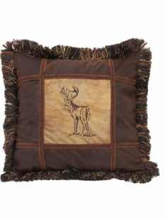 Embroidered Buck Pillow