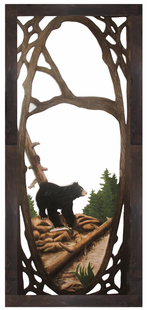 FISHING BLACK BEAR  CARVED SCREEN DOOR