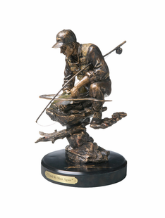 "FISHING BRONZED SCULPTURE "" UNTIL WE MEET AGAIN"""
