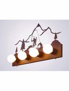 FLY FISHERMAN RUSTIC STEEL 4 LIGHT VANITY