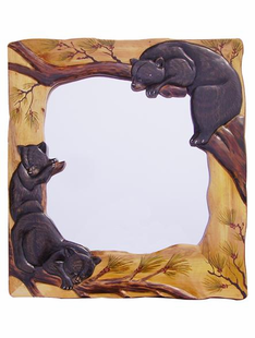 HAND CARVED BEAR CUBS MIRROR