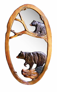 HAND CARVED OVAL BEAR MIRROR