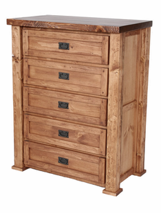 HAND HEWN  TIMBER 5 DRAWER CHEST