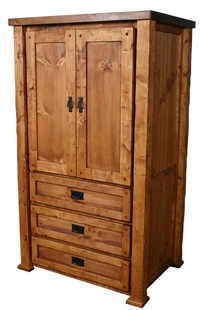 HAND HEWN TIMBER TV ARMOIRE
