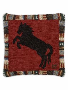 HORSE ON CINNAMON NEW ZEALAND WOOL PILLOW 18 X 18