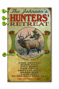 HUNTERS RETREAT PERSONALIZED SIGN- ELK