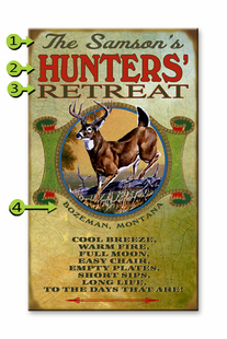 HUNTERS RETREAT PERSONALIZED SIGN- WHITETAIL