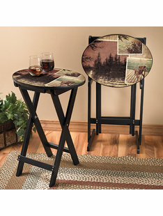 LAKE MEMORIES TRAY TABLE SET/2, W/STAND
