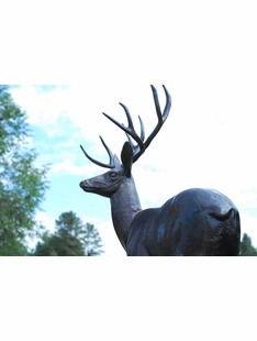 LIFE SIZE DEER BUCK METAL SCULTURE