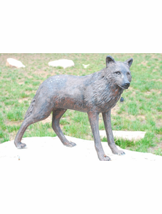 LIFE SIZE WOLF METAL SCULTURE