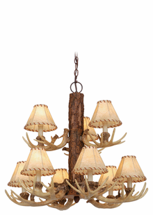 Lodge 9L Chandelier  with Faux Leather Shades