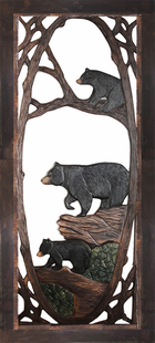 MAMA BEAR & CUBS CARVED  SCREEN DOOR